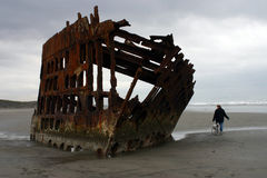 Wreck of the Peter Iredale. Ship wreck on the beach at Fort Stevens, Oregon Royalty Free Stock Image