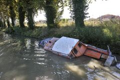 Wreck of pleasure boat on the canal du midi Royalty Free Stock Images