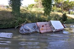 Wreck of pleasure boat on the canal du midi Royalty Free Stock Image