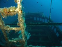 The wreck - rear part. The stern of the ship and the ladder to that high construction Stock Photo