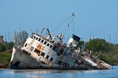 Wreck On The River. Documentary - wreck on the Tiber river, Fiumicino, Italy Stock Images