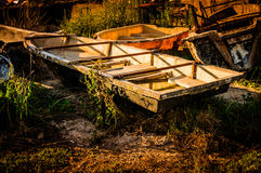Wreck Of Rowboats. In the garden of a small cafe nearby the shore located in Marmara region of the country Turkey Stock Photography