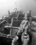 Wreck's winch. A dive in clear water, for the famous wreck of Thistlegorm in teh Red sea Stock Images