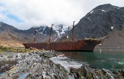 Wreck of the sailing ship Bayard, Ocean Harbour, South Georgia stock image