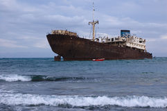 Wreck on a sandbank Stock Photo