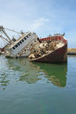 Wreck scrap boat Royalty Free Stock Photo