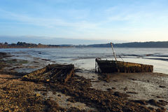 Wreck ship on Auray river bank Royalty Free Stock Photography