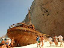 The wreck of the ship in the bay. Stock Photography