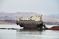 Wreck ship opposite the island of Tiran in the Red Sea Stock Photography