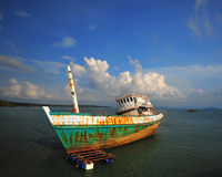 Wreck on the shore Stock Image