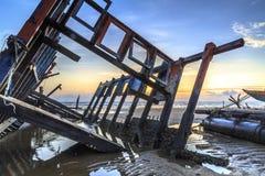 Wreck at Tanjung aru beach, Labuan. Malaysia 06. Wreck at Tanjung Aru beach Labuan Malaysia. with beautiful sunrise Royalty Free Stock Photos