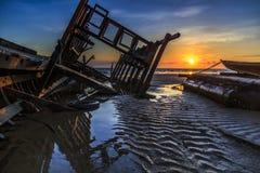 Wreck at Tanjung aru beach, Labuan. Malaysia 05. Wreck at Tanjung Aru beach Labuan Malaysia. with beautiful sunrise Stock Photo