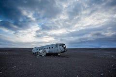 Dakota plane wreck on the wreck beach in Vik, Iceland royalty free stock images