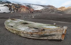 Wreck of a wooden waterboat, Whalers Bay, Deception Island, Antarctic Peninsula royalty free stock photo