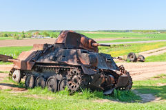 Battle tank wreck Royalty Free Stock Photos
