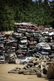 Wreck yard. Big pile of flatened cars on a wreck yard Stock Photo