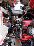 Wreckage. Piles of wrecked vehicles stock images