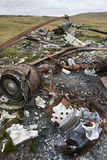 Wreckage of an Argentine Helicopter - Falklands. Wreckage of an Argentine Chinook Helicopter shot down during the Falklands War in 1982 - near Stanley on the Stock Image