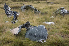 Wreckage of an Argentine jet - Falklands War. Wreckage of an Argentine jet shot down in Falklands War in May 1982 - Pebble Island in West Falkland in the Royalty Free Stock Images