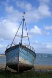 Wreckage of boat. Old boat of wood reformed for the fishing Stock Photo