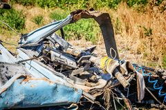 Car wreckage after car accidentcar accident. The wreckage of the cab after car accident Royalty Free Stock Image