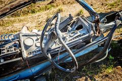 Car wreckage after car accidentcar accident. The wreckage of the cab after car accident Royalty Free Stock Photo