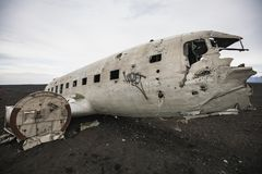Wreckage of crashed airplane on the coast of iceland royalty free stock images