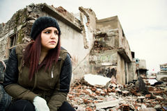 Wreckage Deconstruction Area and Young Woman. Photo Stock Images
