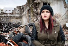Wreckage Deconstruction Area and Young Woman Royalty Free Stock Images