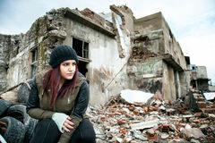 Wreckage Deconstruction Area and Young Woman. Photo Stock Photos