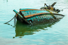 Wreckage of a fishing boat. In the sea, Chonburi, Thailand Royalty Free Stock Photo
