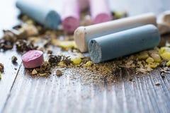 Wreckage of Pastel Chalks. Royalty Free Stock Image