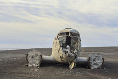 Wreckage of a plane: emergency landing in Iceland Stock Photo