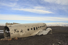 Wreckage of a plane: emergency landing in Iceland Stock Photography