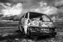 Wreckage. The wreckage of a stolen and burnt out van Stock Photos