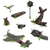 Wreckage of a warship and bomb, military theme Stock Image