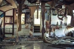 Wrecked покинуло интерьер корабля после кораблекрушения Стоковые Фотографии RF