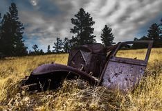 Wrecked antique car on the Lake Shore 1 royalty free stock photos