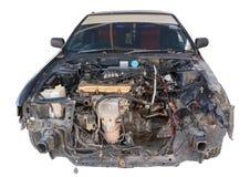 Wrecked black car Stock Photos