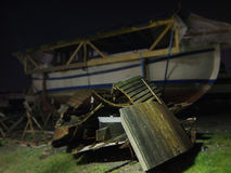 Wrecked Boat. Photo taken at night in Horsens, Denmark, winter Stock Photos