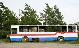 Wrecked bus Stock Photo