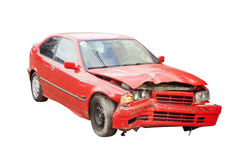 Wrecked car in accident Stock Photos