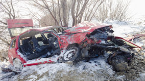 Wrecked car in accident Stock Photo