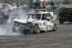 Demolition derby. Napierville demolition derby, July 12, 2015, picture of wrecked car smoking during the demolition derby royalty free stock photos
