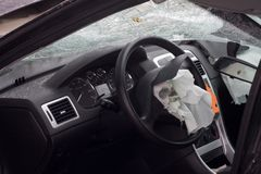 Wrecked car with airbag. Look inside a wrecked car with airbag deployed Royalty Free Stock Photography