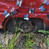 Wrecked car with artificial butterflies Royalty Free Stock Image