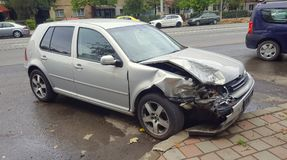 Wrecked car in the city Stock Images