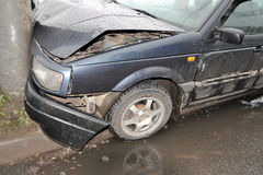 Wrecked car close-up. Royalty Free Stock Photography