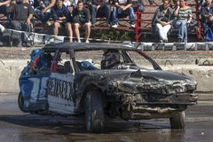 Wrecked car during demolition derby Royalty Free Stock Photography