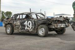 Wrecked car after demolition derby. Napierville demolition derby, July 2, 2017 Stock Image